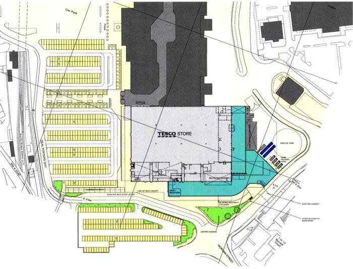 Plan of new extension to Tesco store